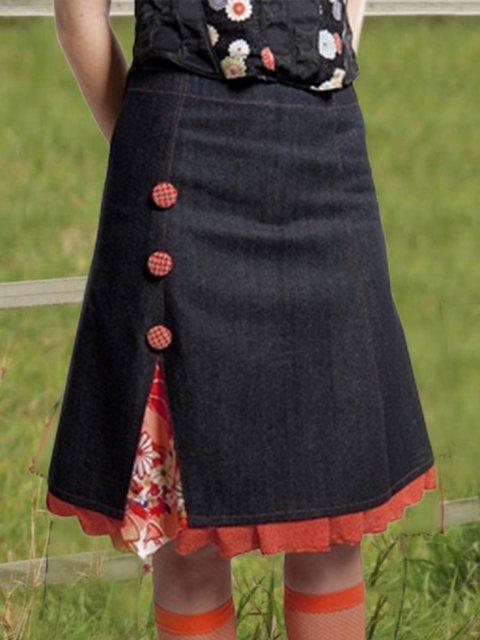 Vintage Floral-prin Ruffled Skirts