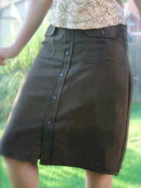 Vintage Buttoned Plain Casual Skirts