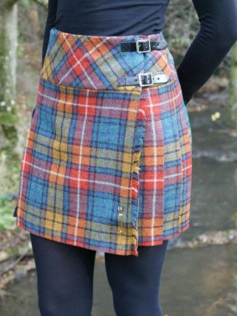 Casual Buttoned Checkered/plaid Vintage Skirts