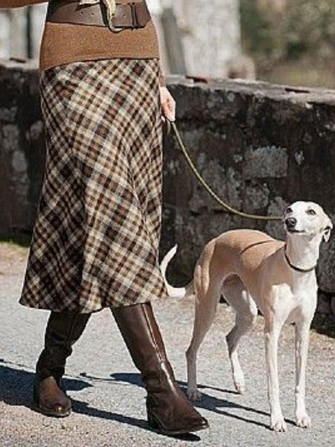Casual Checkered/Plaid Ruffled Skirts