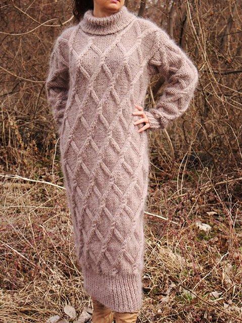 Turtleneck  Shift Daily Knitted Plain Dresses