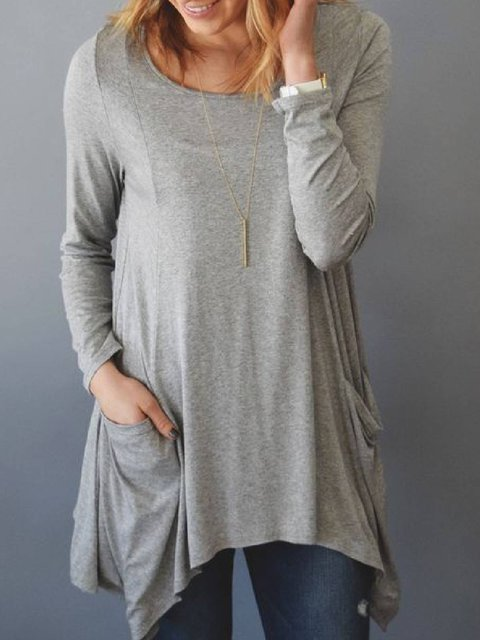 Light Gray Long Sleeve Cotton-Blend Asymmetrical Shirts & Tops