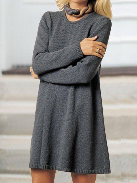 Solid Knit Mini Dress Plus Size Sweater Dresses