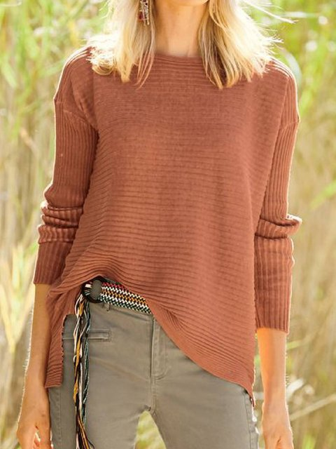 Round Neck Casual Cotton-Blend Sweater
