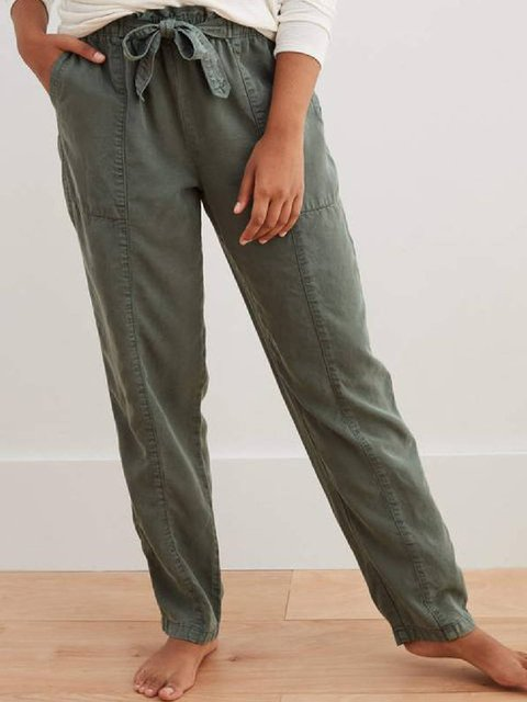 Army Green Casual Pockets Cotton-Blend Pants