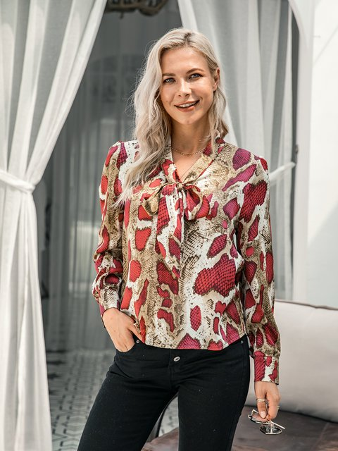 Shift Long Sleeve Leopard Print Shirts & Tops