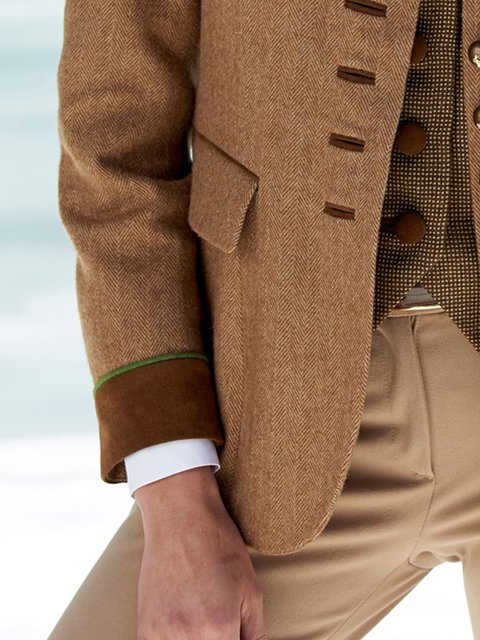 Brown Stand Collar Long Sleeve Outerwear