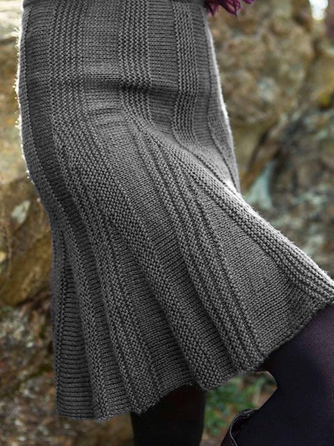 Knitted Plain Shift Simple & Basic Skirts