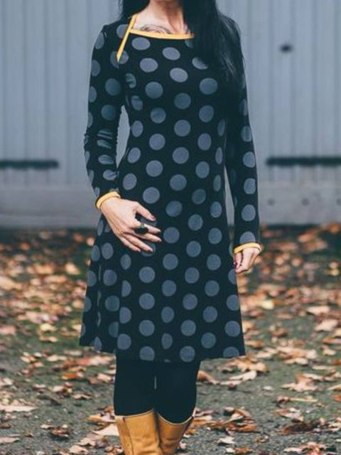 Navy Blue Long Sleeve Sheath Dresses