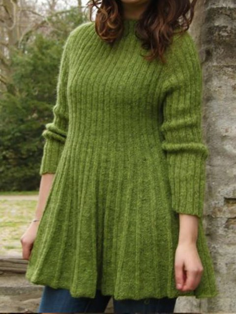 Cotton Knitted Long Sleeve Crew Neck Sweater