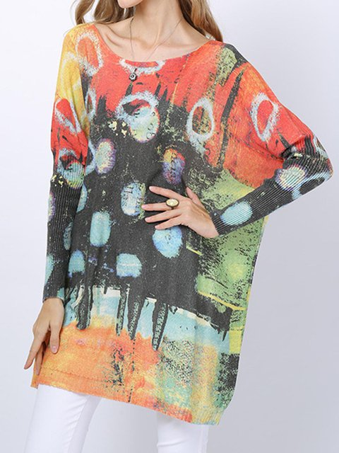 Printed Sweater Plus Size Knitted Batwing Tops