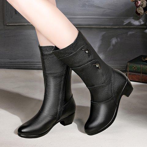 Womens Pu Zipper Chunky Heel Boots Casual Shoes