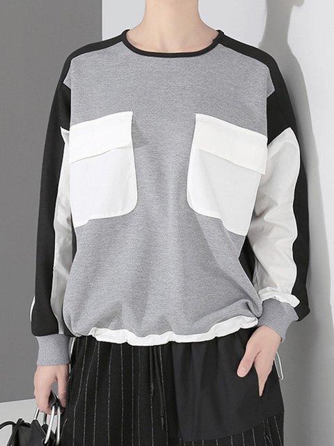 Paneled Pockets Sweatshirt Crew Neck Color Block Tops