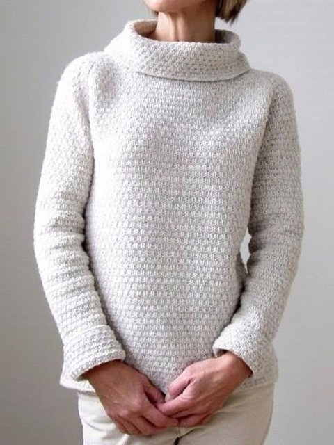 Solid Turtle Neck Sweater Plus Size Knit Tops