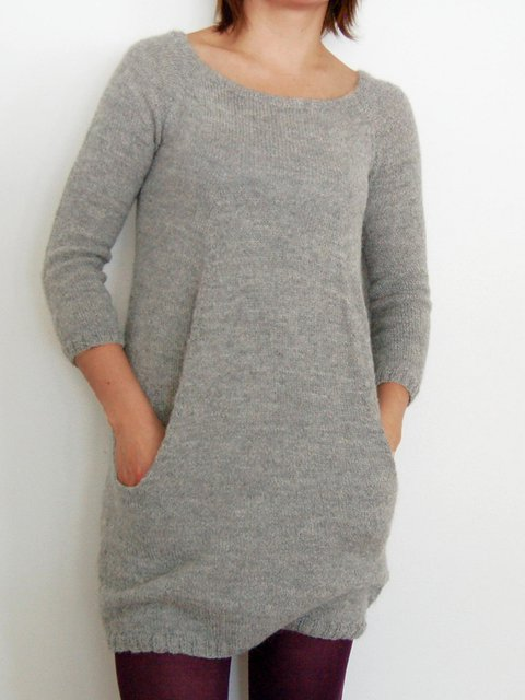 Gray Long Sleeve Knitted Crew Neck Sweater