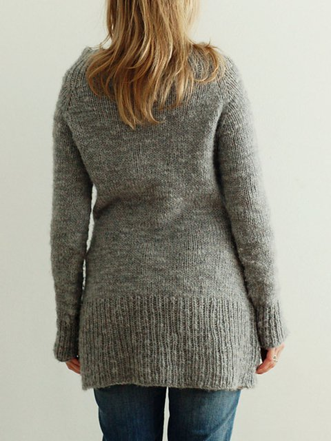 Gray Square Neck Vintage Buttoned Solid Sweater