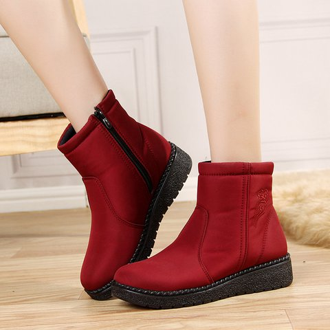 Womens Flat Heel Winter Snow Boots Plus Size Shoes