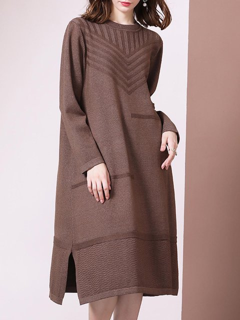 Solid Knit Dress Plus Size Crew Neck Sweater Dresses