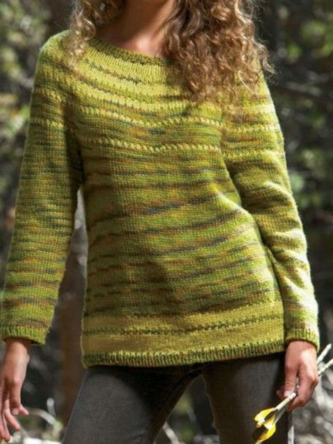 Yellow Wool Blend Paneled Long Sleeve Sweater