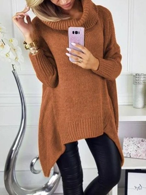 Casual Plus Size Turtleneck Knitting Sweater