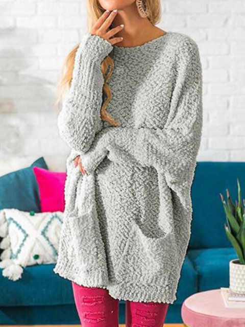 Casual Plus Size Long Sleeve Pocket Sweater
