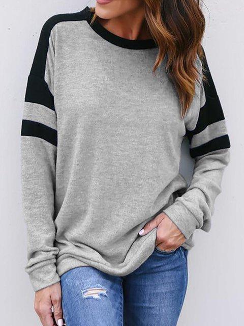 Grey Casual Cotton-Blend plus size Sweatshirt