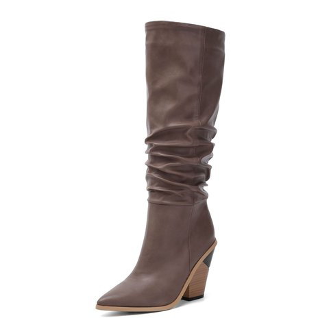 Ruched High Heel Fall Pu Long Boots