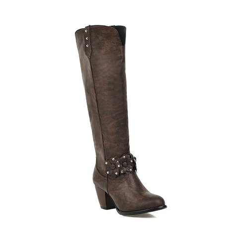 Chunky Heel Winter Long Boots