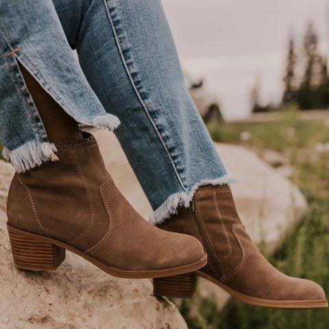 Zipper Chunky Heel Casual Boots