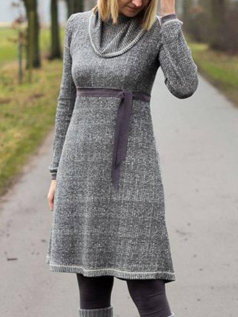 Cowl Neck Casual Cotton-Blend Dresses