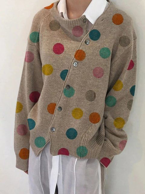 Acrylic Casual Polka Dots Sweater