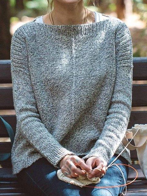 Gray Wool Blend Long Sleeve Sweater