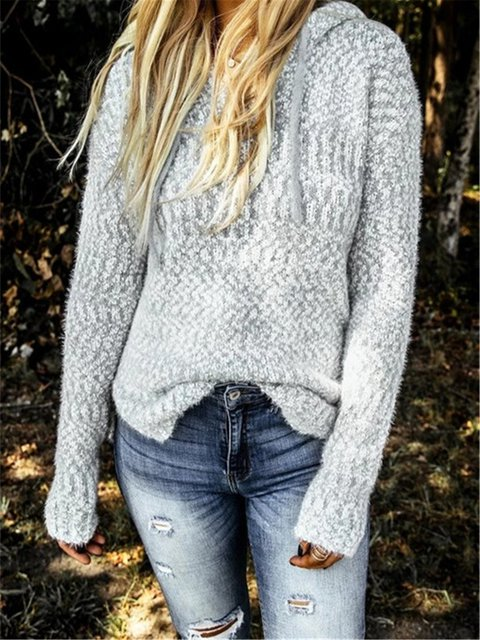Light Gray Cotton Solid Long Sleeve Sweater