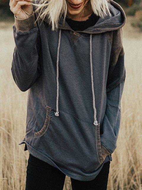 Grey Casual Hoodie plus size Sweatshirt