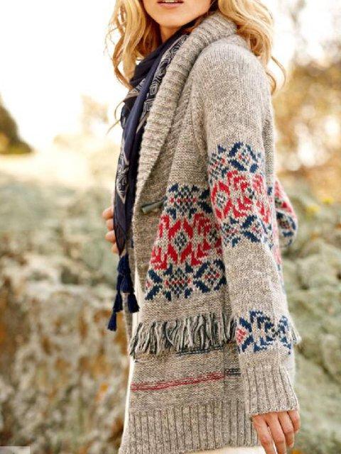 Khaki Cotton-Blend Long Sleeve Printed Round Neck Outerwear