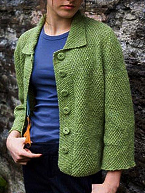 Green Casual Cotton-Blend Outerwear