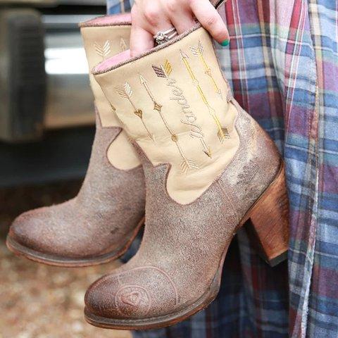 Brown Block Heel Split Joint Casual Winter Boots
