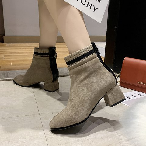 Zipper Chunky Heel Boots