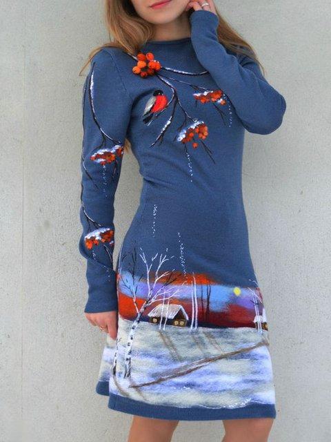 Women Blue Vintage Floral Dresses