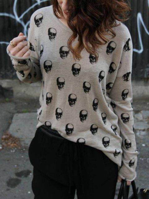 Light Grey Shift Long Sleeve Sweater