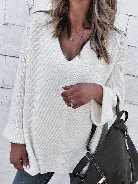 Plus Szie V-Neck Drop Shoulder Casual Solid Sweaters