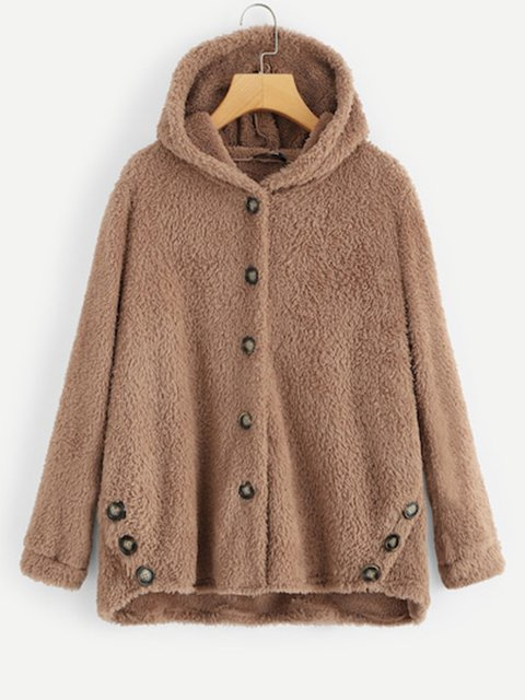 Plus Size Buttoned Solid Hoodie Plush Coats