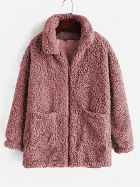 Women Winter Pockets Zipper Solid Plush Outerwear