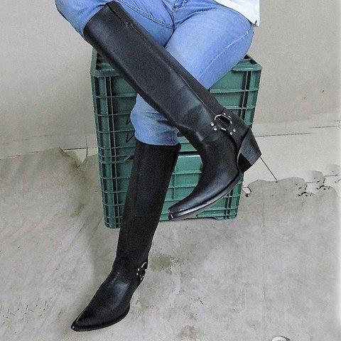 Black Winter Daily Pu Chunky Heel Long Boots