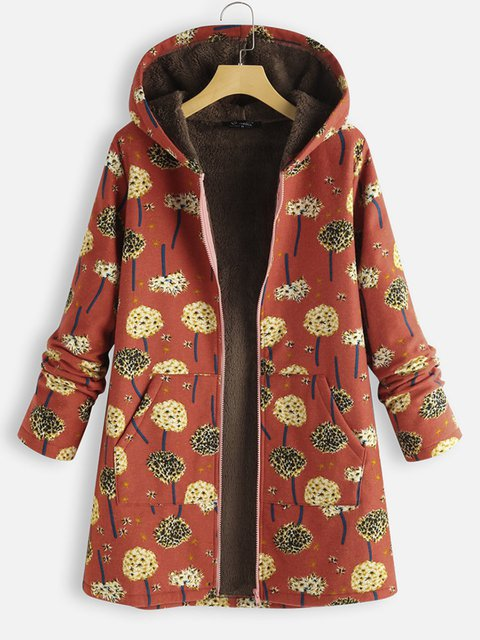 Casual Plus Size Patchwork Hoodie Coat Outerwear