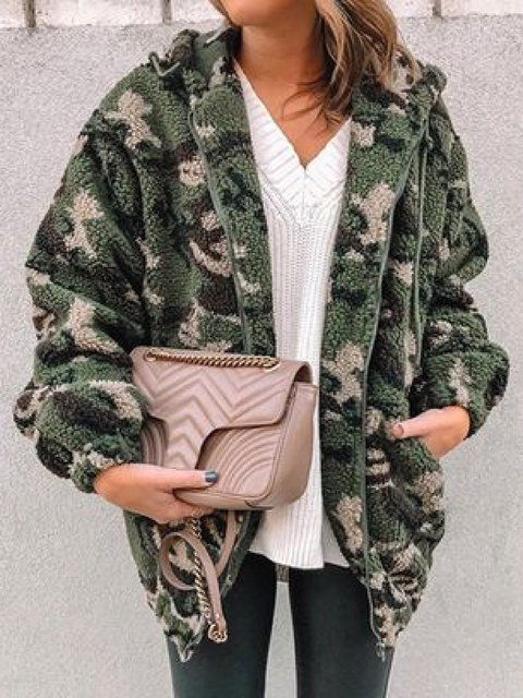 Casual Plus Size Camouflage Hoodie Long Sleeve Coat Outerwear