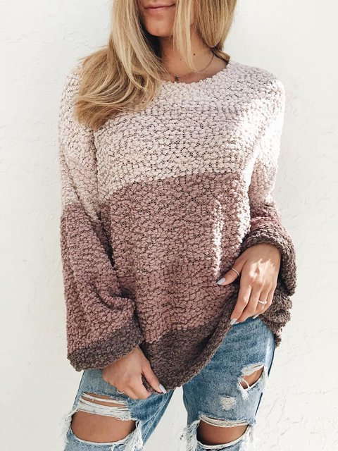 Casual Plus Size Round Neck Long Sleeve Knitting Sweater