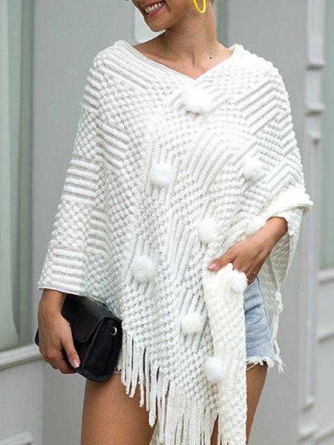 Casual Plus Size Warm Tassel Cloak Shawl