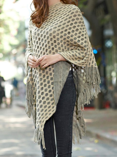 Casual Plus Size Pattern Warm Tassel Cloak Shawl