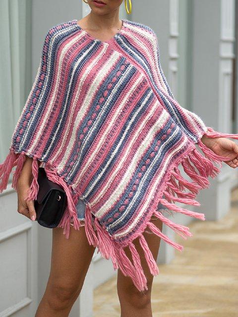 Casual Plus Size Pattern Warm Tassel Cloak Shawl